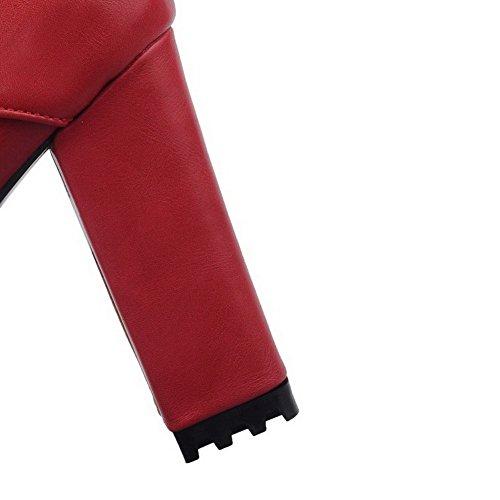 Con Di Mix Materiale Colore Agoolar Metallo Solido Stivaletti Donna Zip Tallone Rosso qxazTO