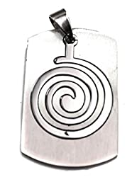 Caprilite ARMY DOG TAG military Stainless Steel Pendant SILVER Spiral