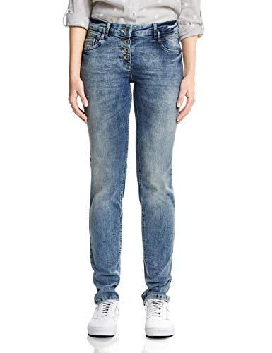CECIL Damen Straight Jeans 371847 Scarlett, Blau ( heather off white melange Light Blue Used Wash 10349), W29/L32 (Herstellergröße: 29)