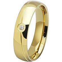 HIJONES Sarga Diamante Estilo Simple Anillo de Bodas para Parejas (Disponibles en Tallas de 12-28)