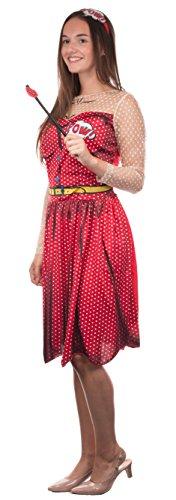 Frauenkostüm - POP ART - Kleid mit Haarreif und Kussmund Accessoire - Fasching Karneval Junggesellenabschied - Größe: L/XL