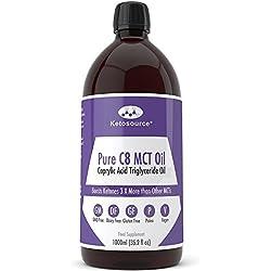 C8 MCT Aceite Puro | Produce 3 X Más Cetonas Que Otros MCT Aceites | Triglicéridos de Acido Caprílico | Paleo y Vegano Amistoso | Botella Sin BPA | Ketosource®