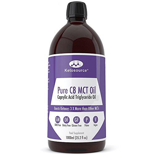 Premium C8 MCT Öl | 3X Mehr Keton-produzierende C8 als MCT-Öle | Reines Caprylsäure Triglyceride mit 99,8% | Paleo & Vegan | BPA Freie Flasche in Plastik | Ketogen und Low Carb | Ketosource® -