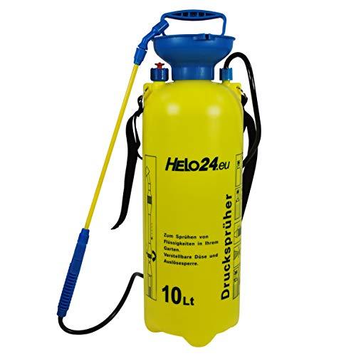 Helo 'D4' Drucksprüher mit 10 Liter Volumen 1-3 Bar (gelb/blau), Pumpsprüher Drucksprühflasche tragbar mit Schlauch, Lanze, Verstellbarer Düse, Auslösesperre, Druckentlastungsventil und Tragegurt