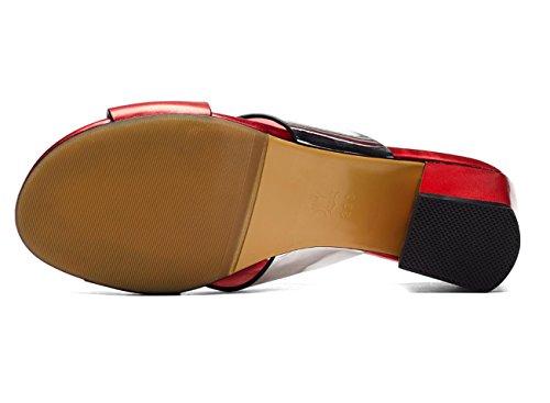 WZG De nouvelles sandales épaisses chaussures à bout ouvert à haute talons lanières croisées chaussures en daim en cuir Red
