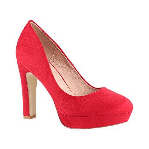 Elara Damen Pumps | Bequeme High Heels | Vintage-Style | Abendschuh Trendy | Chunkyrayan | 7262-GL Red-36