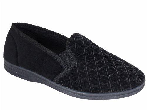Superb Quality Mens Classic Carpet Slippers Black UK 7