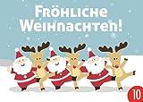 Confezione da 10: Cartolina A6+ + + Natale, di MODERN TIMES + + + Babbi Natale renne danzante köperniker CG Bor Horst, Hans/shutterstock. com