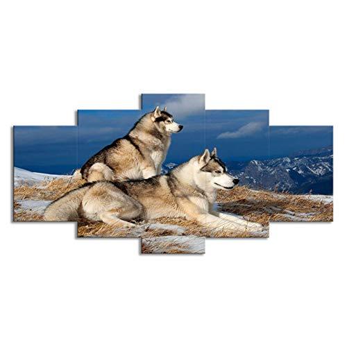 Zwei WolfsstäNder Am Fluss Bank Forest Wall Art Painting Wolves Bilder Print Canvas Animal The Picture for Home Modern Decoration (No Frame Only Canvas),DogandWolf,M