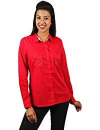 Old Khaki Solid Cotton Casual Partywear Shirt Women's Girls Shirt with Swaroski Stones on The Double Pockets in Red Color with Contrast & Free Shipping