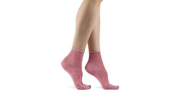 VelvxKl Confortevole donne Glitter Shiny calzini Autunno Inverno solido di colore casuale regalo Calze Black one size