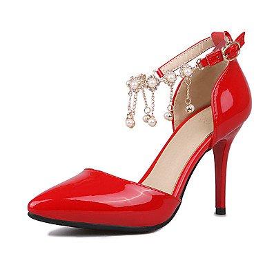 LFNLYX Damen Fersen Sommer Club Schuhe D'Orsay & Zweiteiler Kunstleder Hochzeit Outdoor Büro & Karriere Party & Abendkleid Casual Stiletto Heel Red