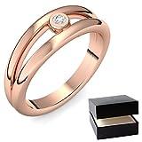Rotgold Ring Verlobungsringe Rotgold (Silber 925 vergoldet) von AMOONIC mit SWAROVSKI Zirkonia Stein + LUXUSETUI! Rotgoldring Ring Zirkonia wie Diamant Geschenk Ringe Verlobung AM141VGRTZIFA54