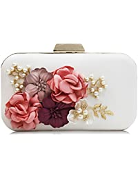 Milisente Evening Bag Flower Clutch Purses Bags With Beaded Chain Strap (White)