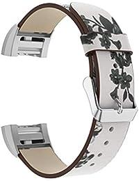 GROOMY Reloj de Pulsera con Estampado de Flores de Cuero reemplazo de la Correa Fitbit Charge 2 - Blanco + Blanco