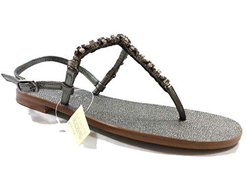 Eddy daniele 37 eu sandali donna gioiello grigio scuro pelle/cristalli swarovski ax868
