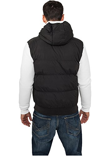 Sweat Nylon Bubble Zip Hoody Black-White