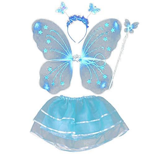 Blaue Fee Kostüm - ESHOO Feenkostüm, Schmetterling, Kinder Kostüm, für Mädchen von 2-8 Jahren, Feenflügel, Stab, Haarreif und Tutu Rock, 4-teilig