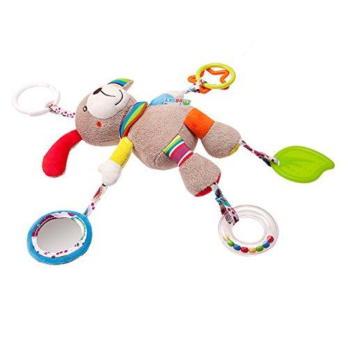 Baby Plüschtiere Spielzeug, Morbuy Kleinkind spielzeug Beschwichtigen Schlaf Spielzeug Bettchen Kindersitz und Kinderwagen Hängenden Plüschtier (Hund)