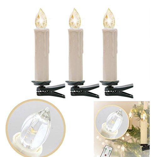 Hengda 30stk.LED Lichterkette Christbaumschmuck Party Weihnachtskerzen IR Kabellos Set Fernbedienung