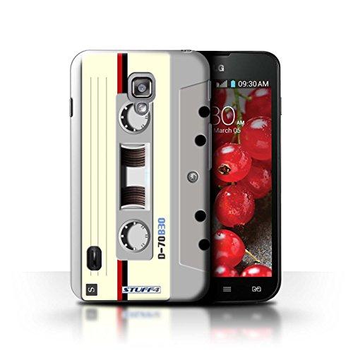 Kobalt® Imprimé Etui / Coque pour LG Optimus L7 II Dual / Compact Cassette Audio conception / Série Retro Tech Compact Cassette Audio