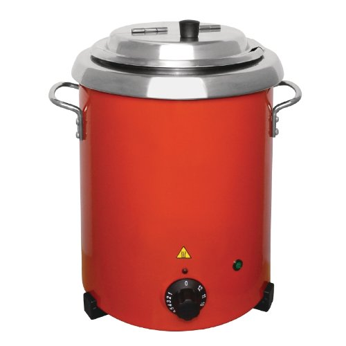 Buffalo GH227 Red Soup Kettle With Handles 5.7Ltr/348X255mm Stainless Steel Electric