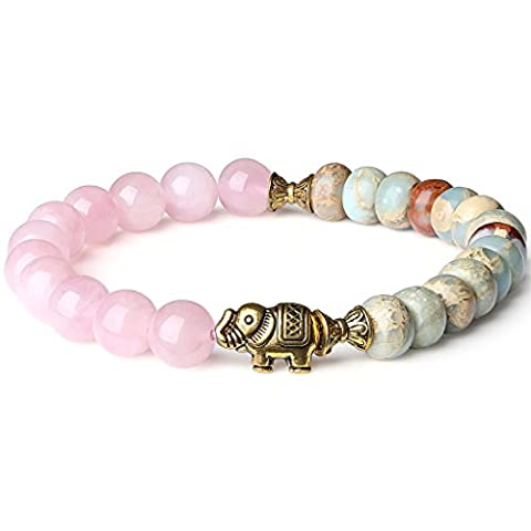 COAI® Rose Quartz and Variscite Energy Bracelet Yoga Mala Reiki Healing Bracelet 8mm
