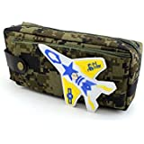 SHERAGO™ Pen/Pencil Box For Girls & Boys || Best Suitable For School Kids, Travelers And Students || Multipurpose Box/Case Military Print With Airplane (Dark Green)