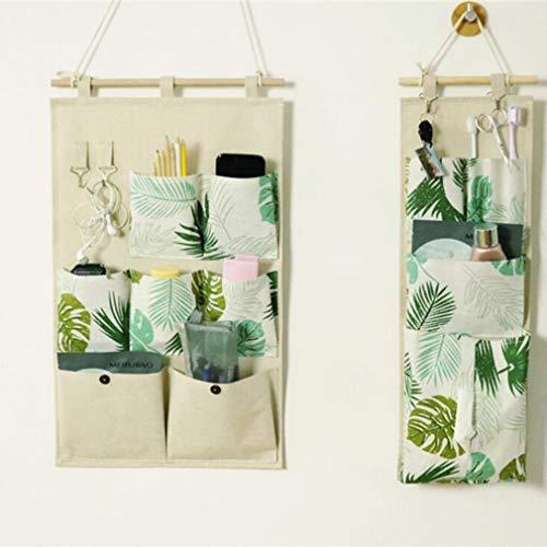 AEKKA 7 Taschen Wandbehang Aufbewahrungstasche Mehrzweck Haken enthalten Hängende Tasche aus Baumwolle und Leinen Wohnzimmer Schlafzimmer Nach der Tür Aufbewahrungsbeutel, 1, 35 * 58CM+19 * 54CM