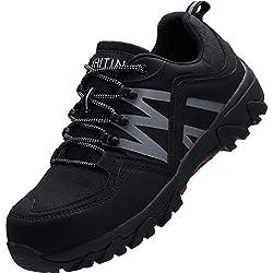 WHITIN Chaussures De Travail Hommes Legere Reflechissant Indestructible Shoes Chaussure De Securite Homme Embout en Acier Antidérapante The Crew Baskets Securite Noir 42 EU