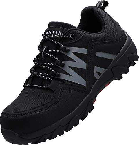 WHITIN Sicherheitsschuhe mit Stahlkappe Arbeits Schuhe Leicht Schutzschuhe rutschfeste Arbeitsschuhe Sicherheits Schuhe Herren s2 Schwarze Größe 44 EU