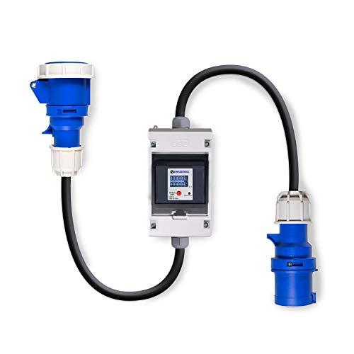 Swissnox Digital Stromzähler Zwischenstecker Box 3-polig. Wattmeter Energiezähler Zwischenzähler verschiedene Zählmodi Tageszähler IP55 Gehäuse. Für Camping, Caravan, Wohnmobil. Made in Germany -