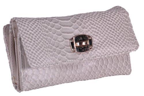 Eyecatch - Damen Large Faux Croc Leder Damen Geldbörse Portemonnaie Off White (Leder Faux Croc)