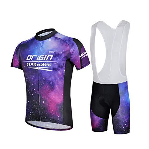 GWELL Herren Radtrikot Galaxie Fahrradbekleidung Set Trikot Kurzarm + Trägerhose mit Sitzpolster für Radsport Outdoor Violett S