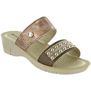 Inblu Sandals Wedge Velcro Strap Jewelled Slip On Soft 'NF002' Womens (UK 4 / EU 37, Bronze)
