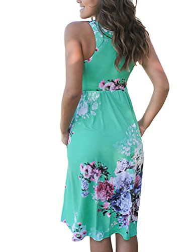ECOWISH Sommerkleid Knielang Ärmellos Strandkleid Damen Casual Kleid mit Blumendruck  Ausgestelltes Grün
