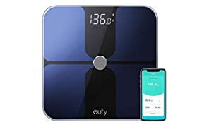 eufy Smart Scale with Bluetooth, Body Fat Scale, Wireless Digital Bathroom Scale, 12 Measurements, Weight/Body Fat/BMI, Fitness Body Composition Analysis, Black/White, lbs/kg/st