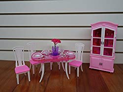 Huaheng Toys Barbie Size Dollhouse Furniture- Dinning Room With 4 Chairs & Cabinet