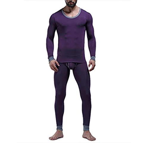 HONGHU Men's Top&Bottom in One Set Crewneck Midweight Slim Fit Modal Size L Purple