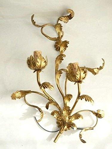 Wandleuchte aus Schmiedeeisen gold Blatt Akanthus A 2flammig für Wohnzimmer Eingang - Akanthus-blatt -