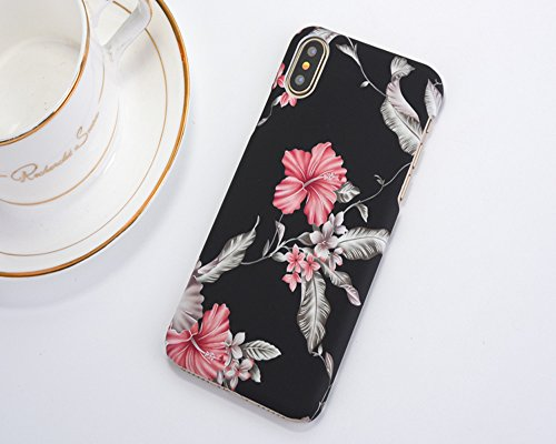 ele ELEOPTION Hülle kompatibel mit iPhone X Retro Floral Series Case 3D Blumenmuster Vintage Ultra Slim Handyschale Cover