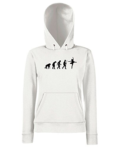 T-Shirtshock - Sweats a capuche Femme EVO0017 Funny Ballerina Evolution Maglietta Blanc