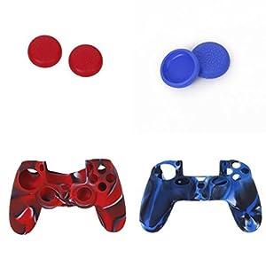 Musuntas 2 STK. Silikon Schutzhülle und 2 Paar Kappen Joystick Thumbstick Mütze und Ersatz für Playstation 4 PS4 Controller red und Blue