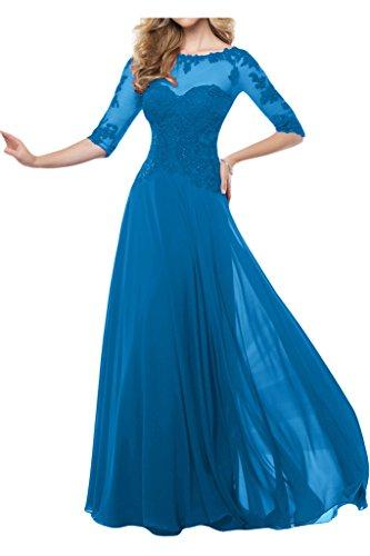 Milano Bride Attraktiv Chiffon Tuell A-Linie Abendkleider Festmode mit Aermel Bodenlang Applikation Rundkragen Blau