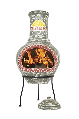 La Hacienda El Sol Clay Chimenea, Large-Dark Green