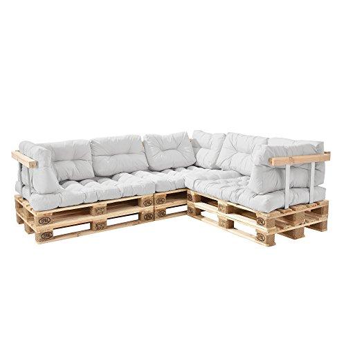[en.casa] Palettensofa - 5-Sitzer mit Kissen - (weiß) komplettes Set inkl. Arm- und Rückenlehne