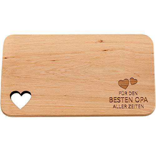 Spruchreif PREMIUM QUALITÄT 100{a12870ca3fdabd61ed125bab0051a9844b1b7f3b1b7fb16a1c61415889b3ac41} EMOTIONAL · Frühstücksbrettchen aus Holz mit Gravur · Brotbrett mit Herzausschnitt · Geschenk für Mama · Papa · Oma · Opa · Vatertag (Für den besten Opa)