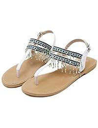 Onfly Chicas Cintas Chanclas Sandalias planas Estilo nacional Color del caramelo Borla Correa de tobillo Sandalias Playa Zapatos , white , 37