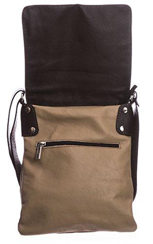 BHBS Damen Cross-Body-Tasche Mit Echtem Weichem Leder 23 x 26 cm (B x H) Coffee (BH351)