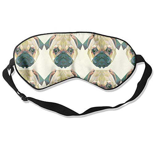 (Sleeping Eye Mask Polygon Pug Puppy Dog Natural Silk Eye Mask Cover with Adjustable Strap)
